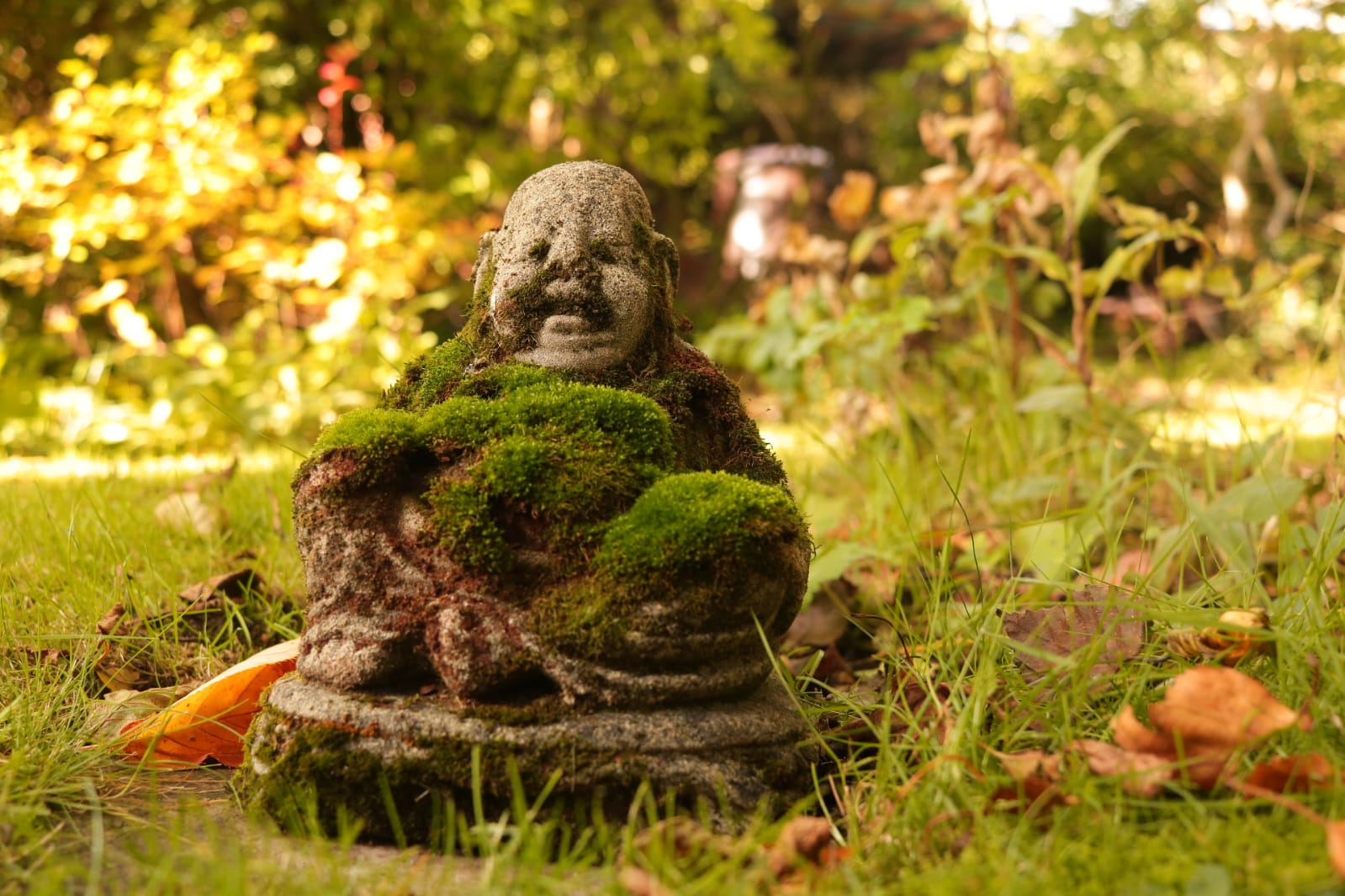 A tiny stone statue of buddha in an autumn park is covered in moss.