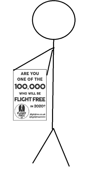 Picture shows a stick figure holding a piece of paper with the Flight Free 2020 pledge on it.