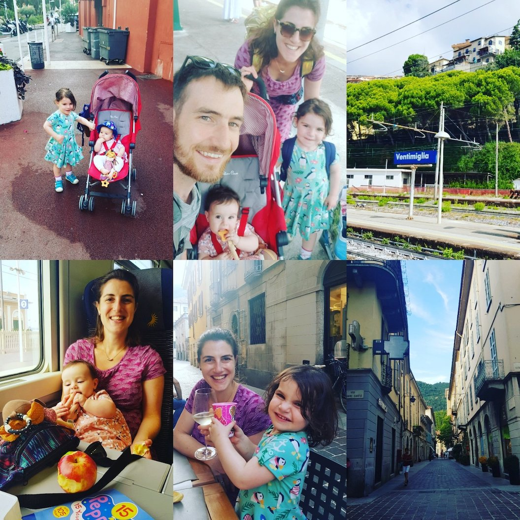 Picture shows a collage of pictures of Sandy and her small children on their travels. Some pictures are of the family on trains, others include eating at cafes and exploring cities.